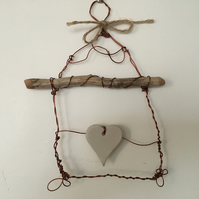 Wire art sculpture, pottery, driftwood and wire art, home decor