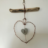 Hand made love heart wire wall hanging, wire art hanger, driftwood hanger