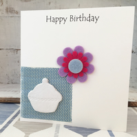 Hand made Happy Birthday card, air dry clay cup cake design attached, gift idea