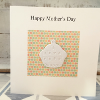 Happy Mothers day card, air dry clay cup cake design attached, gift idea