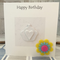 Happy Birthday card, air dry clay cup cake design attached, gift idea