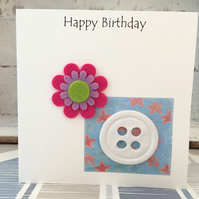 Happy Birthday card, air dry clay button design attached, gift idea