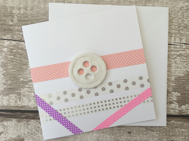 Hand made blank card, air dry clay button design attached, gift idea