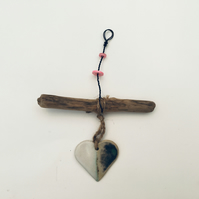 Unique Driftwood, Loveheart hanger, pottery, gift idea, birthday,valentines gift