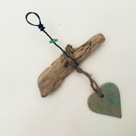 Pretty Driftwood, Loveheart hanger, pottery, gift idea, birthday, home decor