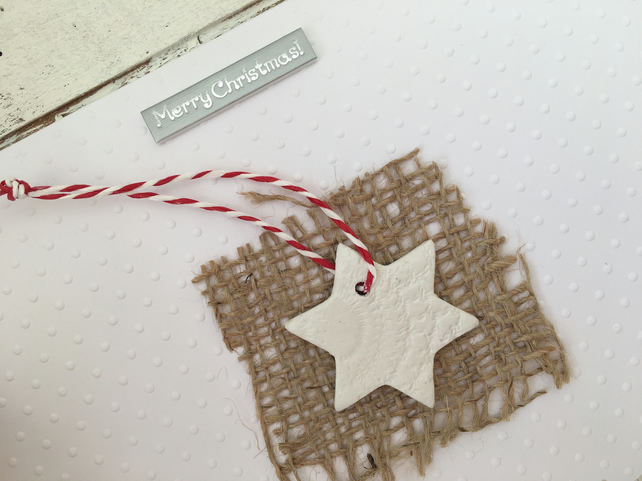 Christmas decoration and card, hand made christmas card, air dry clay decoration