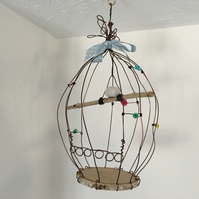 Wire bird cage, wire art sculpture, driftwood wire and pottery hanger, hand made