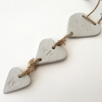 One off ceramic Loveheart hanger, gift idea, white glaze, U.K. Handmade item