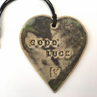 'Good Luck' Loveheart hanger, ceramic lovehearts, gift idea,  pottery,