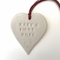 Ceramic heart Baby's First xmas Loveheart hanger, ceramic lovehearts