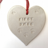 Ceramic heart Baby's First Christmas Loveheart hanger, handmade pottery