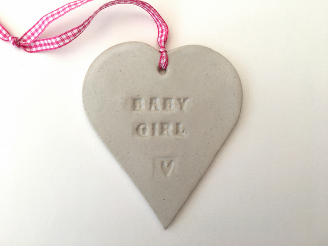 Loveheart hanger, baby girl gift,ceramic lovehearts, gift idea, home decor