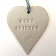 'Best friends' Loveheart hanger, ceramic lovehearts, home decor, pottery