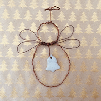 Christmas angel decoration, wire angel, angel hanger, christmas decoration,
