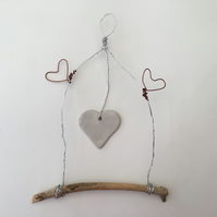 Wire art sculpture, wall hanging, driftwood art, wire art sculpture,
