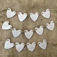 Handmade Loveheart hanger, ceramic bunting, pottery, gift idea, home decor,