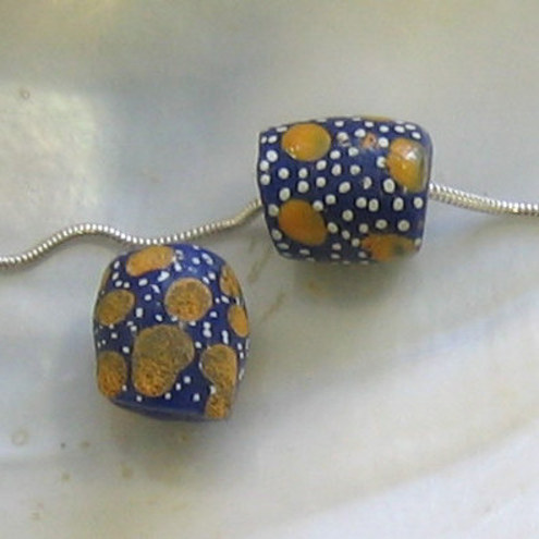 Blue Krobo Beads with Yellow Dots. (KB11)