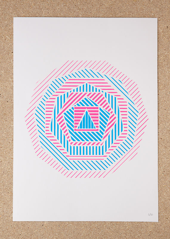 Geometric (A3 Screen print in Blue and Pink – Limited Edition)