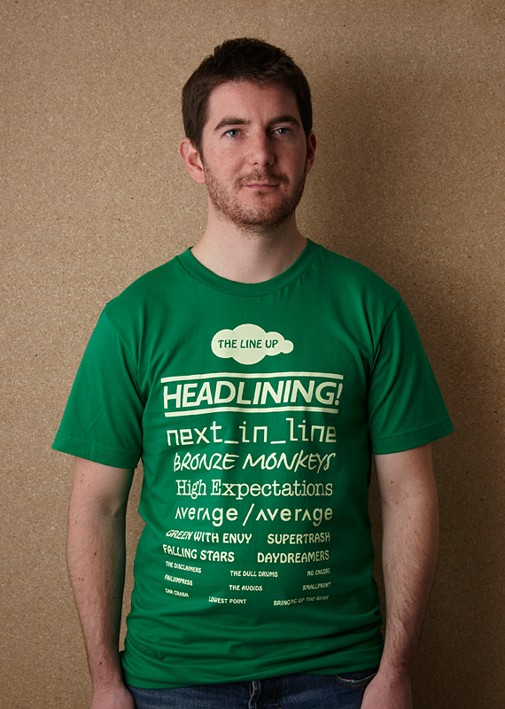 The Line Up (Unisex Kelly Green T Shirt – Screen printed on American Apparel)