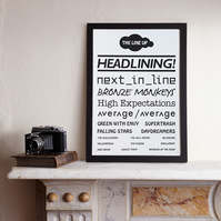 Sale! The Line Up (A3 Limited edition screen print – Black)