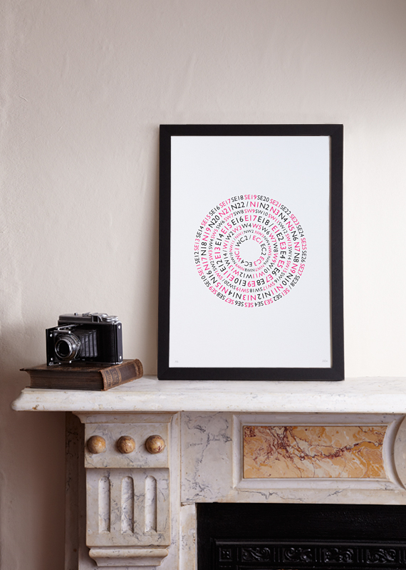 Postcode Lottery (A3 Limited edition screen print – Red&Black)