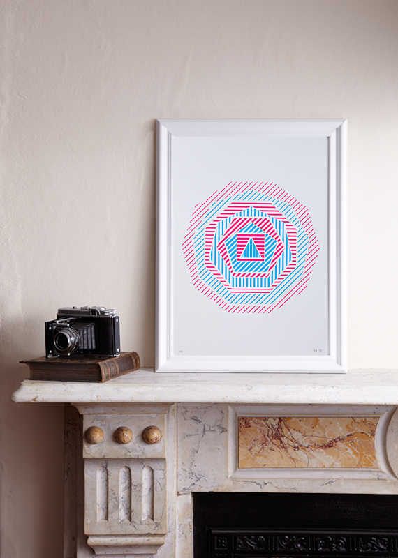 (A3 Limited edition screen print – Pink&Blue)