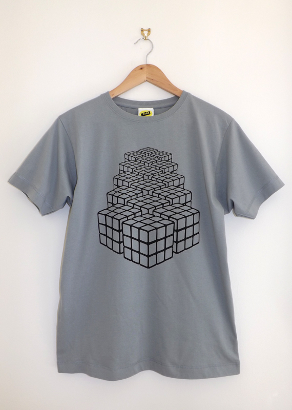 Rubix Returns (Unisex Heather Grey T Shirt, Screen printed on American Apparel)