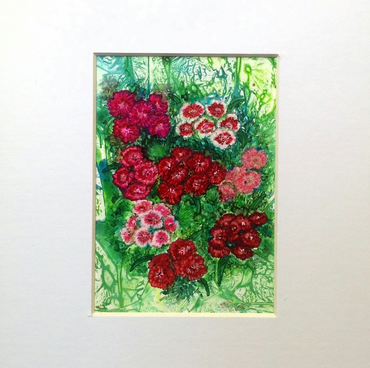 Reserved for GT - Commissioned Miniature Ink Art Flower Study - Sweet Williams