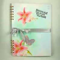Scrapbook Album, Journal or Photograph Album Handmade Watercolour Flowers