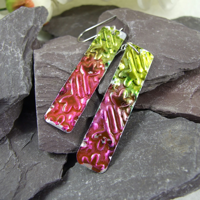 Raspberry & Lime Earrings, Flower Embossed Aluminium. Hypoallergenic Earwires