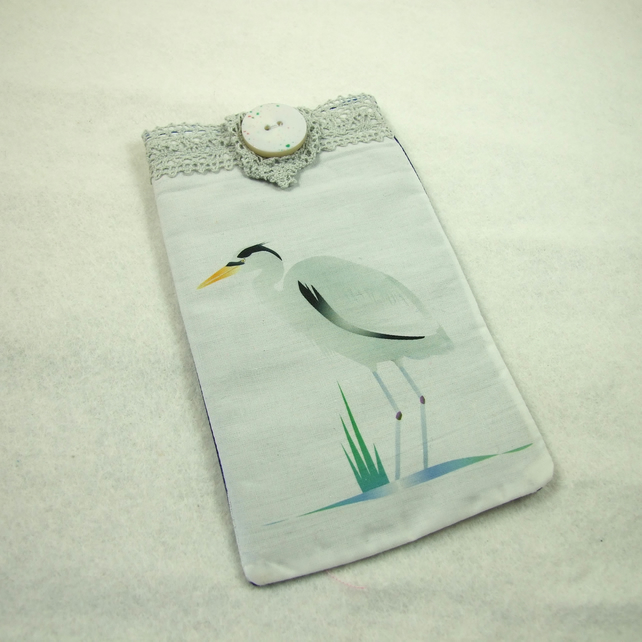 Glasses Case, Phone Cover, Original Art Heron Print, Cotton & Felt Lined