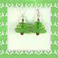 Earrings, Christmas Tree Green. Hypoallergenic Surgical Steel Earwires