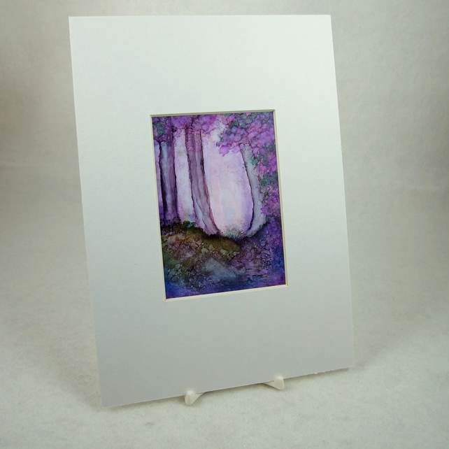 Miniature Painting, Enchanted Woodland, Summer. ACEO, Mounted 7 x 5 Inches