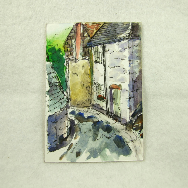 Painting, Cornwall, Port Issac, Miniature Watercolour, ACEO Collectors Art