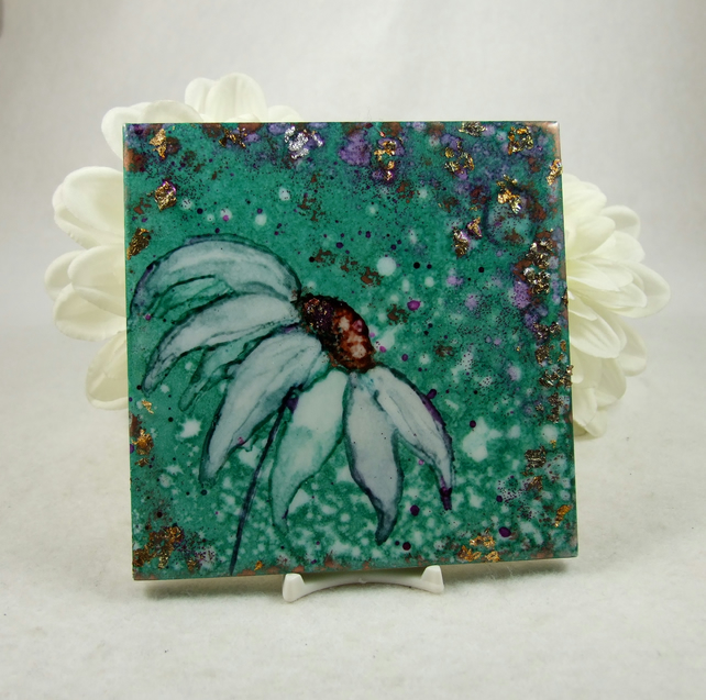Hand Painted Tile, Daisy Mixed Media Artwork, Sealed with Resin