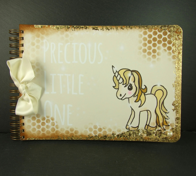 New Baby, Precious Little One, A5 Scrapbook Album, Unicorn Book, Neutral