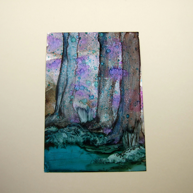 Bluebell  Woodland Original Miniature Artwork, ACEO Collectors Art, Ink Painting