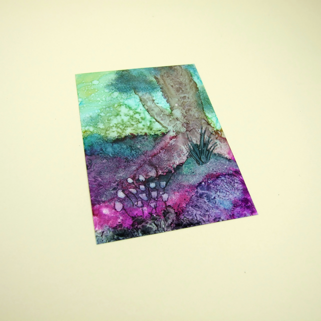 Spring Dawn Woodland Original Miniature Artwork, ACEO Collectors Ink Art