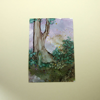 Day Break Woodland Original Miniature Artwork, ACEO Collectors Ink Art