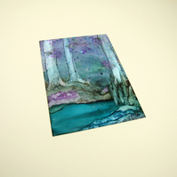 Spring Woodland Original Miniature Artwork, ACEO Collectors Art, Ink Painting