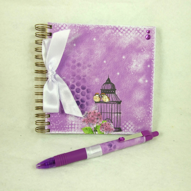 Mini Handmade Notebook with Coordinating Pen, Little Sparrows, Purple