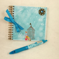 Mini Handmade Notebook with Coordinating Pen, Little Wren, Turquoise