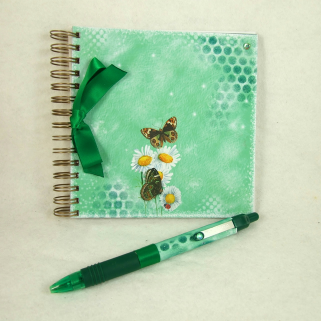 Mini Handmade Notebook with Coordinating Pen, Garden Butterflies, Green