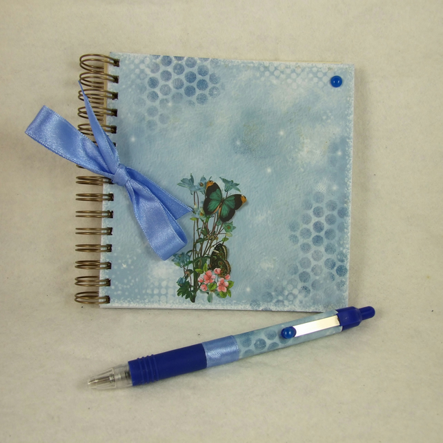 Mini Handmade Notebook with Coordinating Pen, Butterflies, Blue