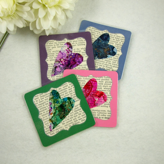 Colourful Ink Heart Coasters with Vintage Book Paper, Laminated