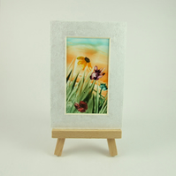 Miniature Encaustic Wax Art Flower Painting with Easel