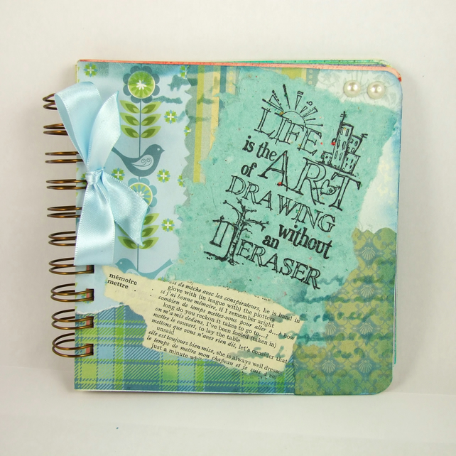 Mixed Media Art Journal, Scrapbook - Handmade Inspiration Memory Book