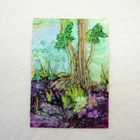 Edge of the Forest Original Miniature Artwork, ACEO Collectors Art, Ink Painting