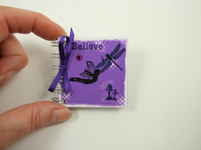 Miniature Fairy Notebook, Believe, Emergency Contact, Address Book, Purple