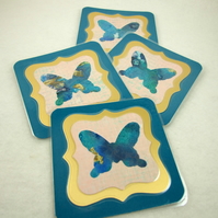 Coasters, Pack of 4 Teal and Gold Ink Butterfly Cup Mats Heat Laminated